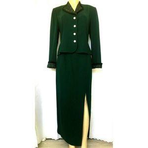 Rickie Freeman Teri Jon Skirt Suit Green Bead Maxi